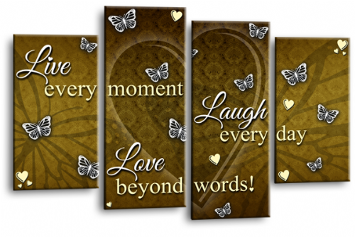 Love Quote Canvas Wall Art Picture Live Laugh Print Cream Brown